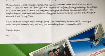 Charity skydive raises £615 for St Elizabeth's Hospice