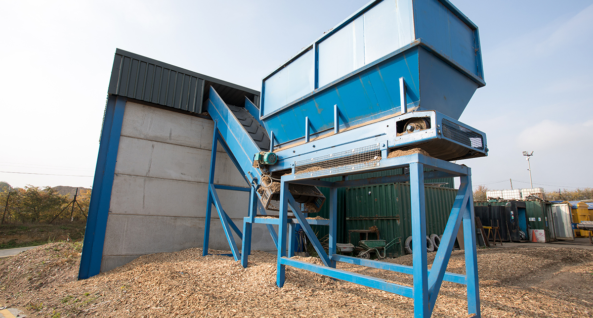 Waste wood processing store