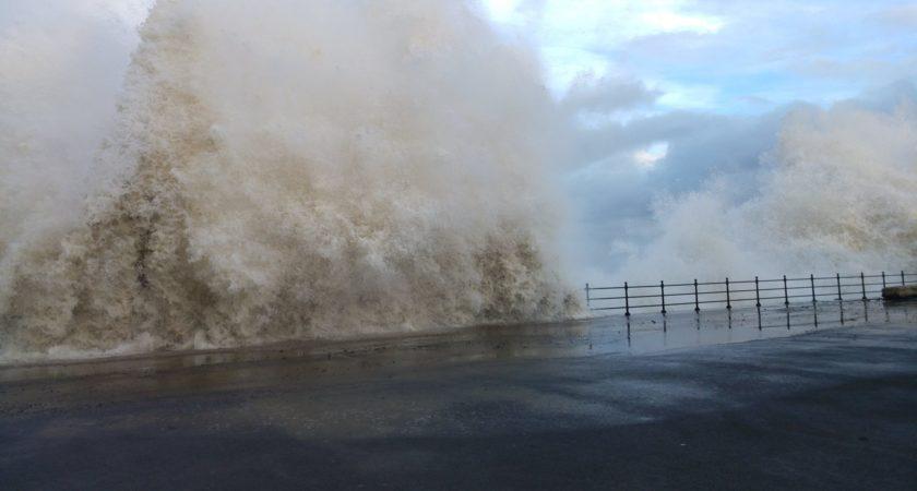 Storm at Hartlepool Sea Defences