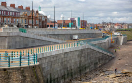 Completed Poundfield Products sea defence wall at Whitley Bay