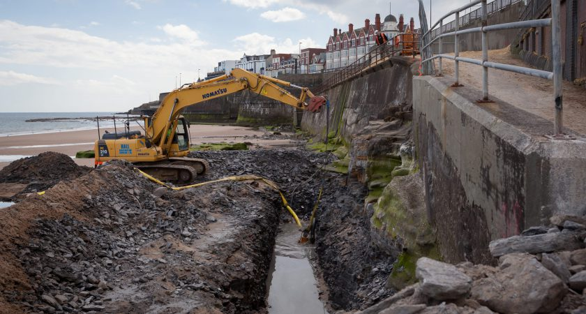 new sea defence construction