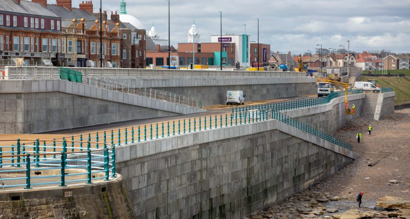 Completed Poundfield Precast sea defence wall at Whitley Bay
