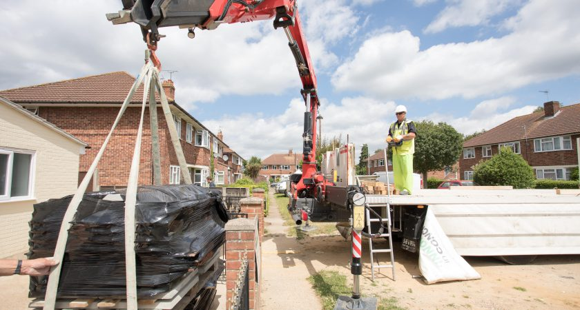 Delivering precast concrete for Gee Wizz charity project in Kesgrave, Suffolk