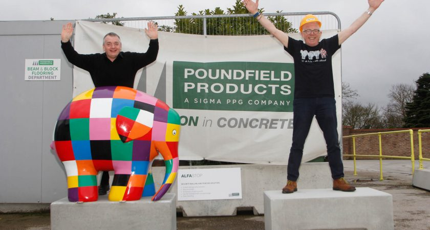 Finished concrete plinths for Elmer Big Parade at Poundfield Products